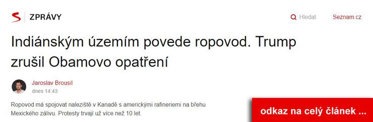 Článek na seznam.cz k tématu stavba ropovodu přes indiánské území